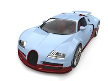Beautiful light sky blue with maroon details modern concept supercar - top view Royalty Free Stock Images