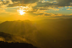 Beautiful light to Mountain and Sunset with Beautiful Sky , Thailand Royalty Free Stock Photos