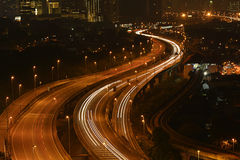 Beautiful light trail at the busy highway Royalty Free Stock Photo