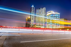 Beautiful light trails of city traffic at night Stock Image