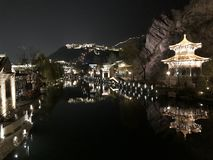 Beautiful Light On View At Night. A very pretty night view after lights switch on. This is a nice place located near to Beijing Town and highly recommended for royalty free stock images