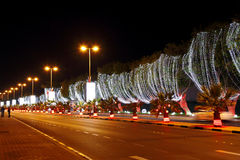 The beautiful lighted street on 42nd National day celebration at Bahrain Royalty Free Stock Photo