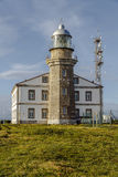 Beautiful lighthouse in Asturias in northern Spain Bay of Biscay. Faro Cabo Penas royalty free stock photos