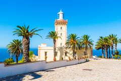 Beautiful Lighthouse of Cap Spartel close to Tanger city and Gibraltar, Morocco stock photography