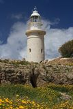 Beautiful lighthouse in Cyprus in Paphos Archaeological Park Royalty Free Stock Image