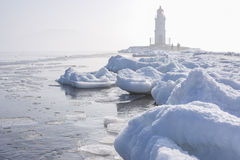 Beautiful lighthouse. In the far north in the sun Royalty Free Stock Photo