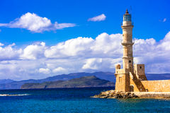 Beautiful lighthouse - landmark of Crete, Greece Stock Image
