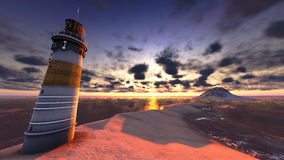Beautiful lighthouse by the ocean Stock Images