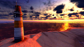 Beautiful lighthouse by the ocean Royalty Free Stock Photo