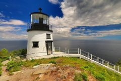 Beautiful lighthouse by Owls Head. Landscape with Owls Head lighthouse in Maine Royalty Free Stock Photography
