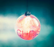 Beautiful lighting Christmas ball with bokeh royalty free stock photos
