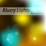 Beautiful lighting night unfocused in yellow blue. Vector Design. The lights on blurred background Stock Image