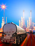 Beautiful lighting of oil refinery plant in heavy petrochemical Royalty Free Stock Photos