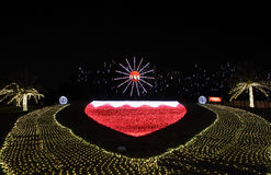 Beautiful lighting showing Bahrain Flag on 42nd National day celebration at Bahrain Royalty Free Stock Images