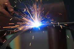Beautiful lighting from spark welding Royalty Free Stock Photo