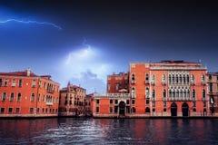 Beautiful lightning over the city. Landscape Venice Royalty Free Stock Image