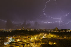 Beautiful lightning in the sky Stock Photography