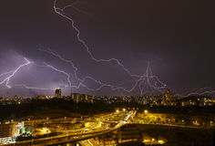 Beautiful lightning in the sky Stock Image