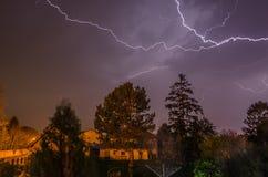 Beautiful lightning thunderstorms in night Royalty Free Stock Photos