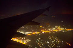 Beautiful lights of the city view from the airplane Royalty Free Stock Photography