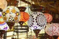 Beautiful lights hanging in tent of merchant Stock Image
