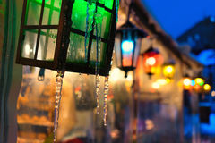 Beautiful lights with icicles Christmas Royalty Free Stock Photo