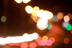 Beautiful lights streets with bokeh effect. Night city Stock Photos