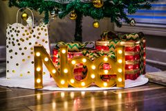 Noel time with lights and gifts. royalty free stock photos