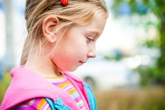 Beautiful liitle girl close-up. Portrait of a pretty liitle girl close-up Royalty Free Stock Photography