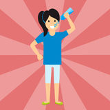 Beautiful liitle girl happiness childhood young cute person drink water woman vector illustration stock illustration