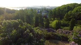 Beautiful lilac branches swaying in the wind. Aerial view. Kiev, Ukraine. stock video