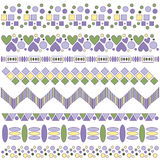 Beautiful lilac, yellow and green trim collection. Over white background royalty free illustration