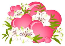 Beautiful Lily bouquet with hearts Royalty Free Stock Images