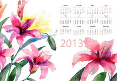 Beautiful Lily flowers. Watercolor illustration, calendar for 2013 Royalty Free Stock Photos