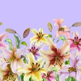 Beautiful lily flowers with green leaves on lilac background. Seamless floral pattern. Watercolor painting. Hand drawn and painted illustration. Fabric vector illustration