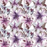 Beautiful lily flowers with leaves on white background. Tints of purple, blue, lilac. Seamless floral pattern. Watercolor painting. Hand painted illustration Royalty Free Stock Images