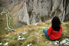 Beautiful Limestone Gorge And A Woman Admiring It Royalty Free Stock Photos