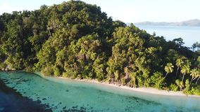 Aerial View of Gorgeous Tropical Island in Raja Ampat. A beautiful limestone island is found in Raja Ampat, Indonesia. This tropical region is known as the heart stock video footage