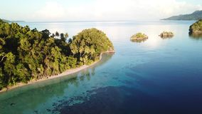 Aerial View of Tropical Island and Calm Water in Raja Ampat. A beautiful limestone island, surrounded by calm waters and coral reefs, is found in Raja Ampat stock video