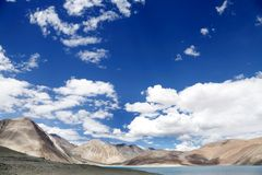 Beautiful limestone mountain along Pangong lake Stock Image