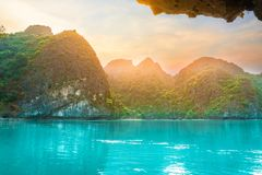 Beautiful limestone rocks and secluded beaches in Ha Long bay, UNESCO world heritage site, Vietnam stock images