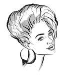 Beautiful line art black woman illustration Royalty Free Stock Photos