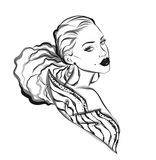 Beautiful line art woman illustration Stock Photos