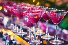 Beautiful line of different colored alcohol cocktails with smoke on a Christmas party, tequila, martini, vodka, and others on part royalty free stock image