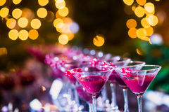Beautiful line of different colored alcohol cocktails with smoke on a Christmas party, tequila, martini, vodka, and others on part Royalty Free Stock Photos
