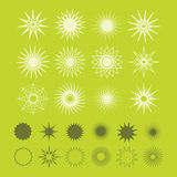 Beautiful line and silhouette geometrical poly-gram stars icons. Set on bright green background vector illustration