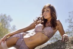 Beautiful lingerie model Royalty Free Stock Image