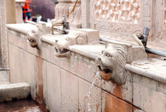 Beautiful lion sculpture drinking water tap in a temple at Bhimtal Stock Photo