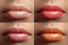Beautiful lip collection. Fashion sexy make-up set with female plump lips. Fashion variant for makeup. Naturale pale set Stock Images