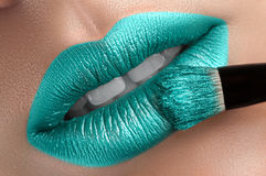 Beautiful lips with a brush. Royalty Free Stock Photos